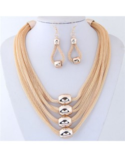 Alloy Beads Decorated Multi-layer Chains Costume Necklace and Earrings Set - Golden