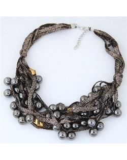 Round Beads Rope Fashion Costume Necklace - Coffee