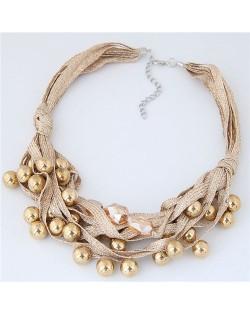 Round Beads Rope Fashion Costume Necklace - Khaki