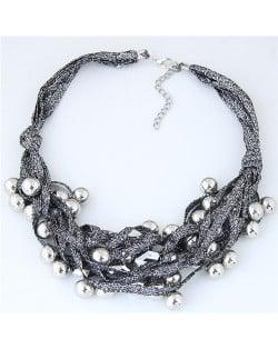 Round Beads Rope Fashion Costume Necklace - Black