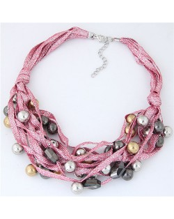 Round Beads Rope Fashion Costume Necklace - Pink
