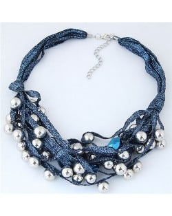Round Beads Rope Fashion Costume Necklace - Blue