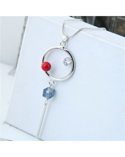 Simple Hoop and Tassel Design Alloy Long Chain Fashion Necklace
