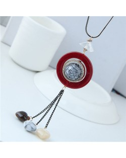 Candy Beads Tassel Dangling Hoop Design High Fashion Statement Necklace