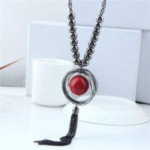 Red Ball Pendant Hoop Design Chunky Fashion Statement Necklace 1b4cb02be6