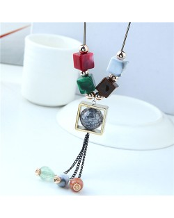 Candy Beads Tassel with Hollow Square Pendant Design Long Chain Costume Necklace