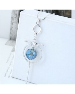 Blue Crystal Ball Inlaid Hoop Pendant Tassel Fashion Statement Necklace