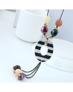 Candy Beads Black and White Oval Pendant Tassel Design Women Statement Necklace