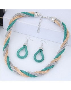 Weaving Pattern Design Alloy High Fashion Necklace and Earrings Set - Green