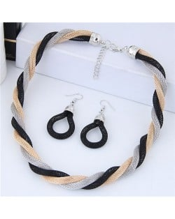 Weaving Pattern Design Alloy High Fashion Necklace and Earrings Set - Black