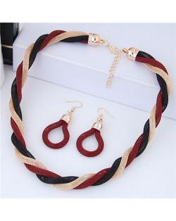Weaving Pattern Design Alloy High Fashion Necklace and Earrings Set - Red