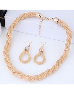 Weaving Pattern Design Alloy High Fashion Necklace and Earrings Set - Golden
