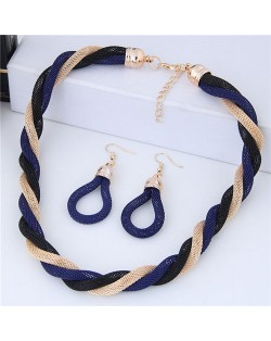 Weaving Pattern Design Alloy High Fashion Necklace and Earrings Set - Royal Blue