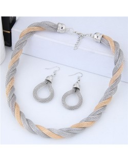 Weaving Pattern Design Alloy High Fashion Necklace and Earrings Set - Silver and Golden