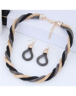 Weaving Pattern Design Alloy High Fashion Necklace and Earrings Set - Gray