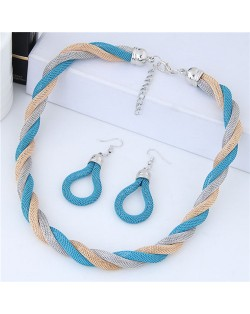 Weaving Pattern Design Alloy High Fashion Necklace and Earrings Set - Blue