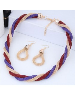 Weaving Pattern Design Alloy High Fashion Necklace and Earrings Set - Purple