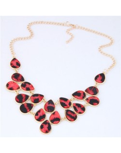 Leopard Prints Waterdrops Combo Design Women Fashion Statement Necklace - Red