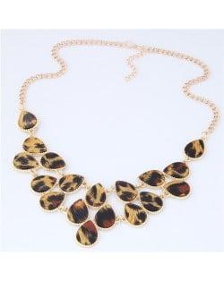 Leopard Prints Waterdrops Combo Design Women Fashion Statement Necklace - Brown