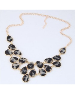 Leopard Prints Waterdrops Combo Design Women Fashion Statement Necklace - Gray