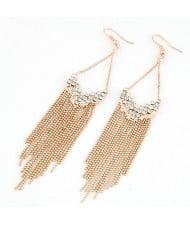 Rhinestones Decorated Long Tassel Earrings - Golden