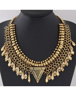 Waterdrop Pendants Wire Pattern Chunky Collar Fashion Necklace - Golden