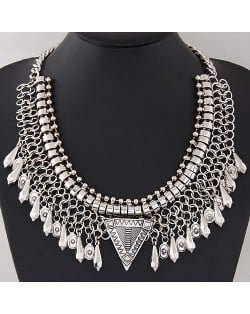 Waterdrop Pendants Wire Pattern Chunky Collar Fashion Necklace - Silver