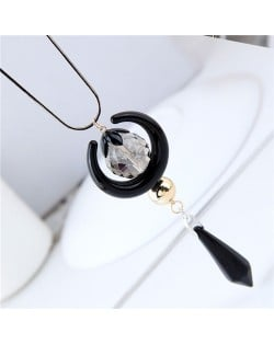Beads and Moon Combo Design High Fashion Long Style Costume Necklace