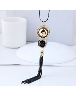 Dual Beads Inlaid Hoops Design Tassel Chain Long Style Fashion Necklace