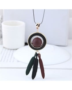 Bead Inlaid Hoop with Alloy Feather Tassel Design High Fashion Necklace