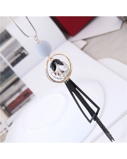 Ball Golden Hoop and Tassel Combo Design Long Style Costume Necklace