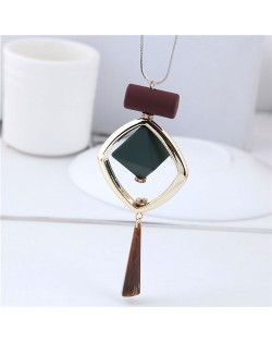 Graceful Square and Wasterdrop Combo Design Fashion Necklace