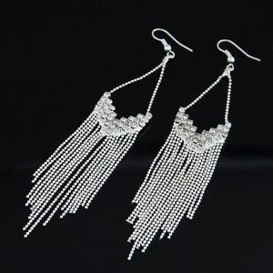 Rhinestones Decorated Long Tassel Earrings - Silver