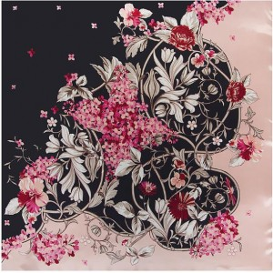 3 Colors Available Fortune Flowers Fashion 90*90 cm Square Silk Feeling Scarf