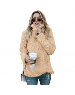 Fluffy Texture High Collar Autumn/ Winter Fashion Women Top - Khaki
