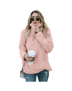 Fluffy Texture High Collar Autumn/ Winter Fashion Women Top - Pink