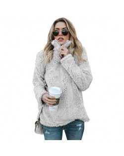 Fluffy Texture High Collar Autumn/ Winter Fashion Women Top - Gray