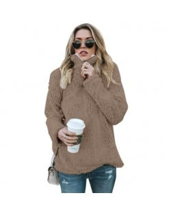 Fluffy Texture High Collar Autumn/ Winter Fashion Women Top - Brown