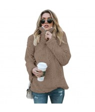 Fluffy Texture High Collar Autumn/ Winter Fashion Women Top - Brown