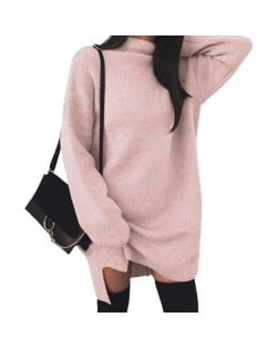Knitted High Neck Fashion Long Sleeves One-piece Women Dress - Pink