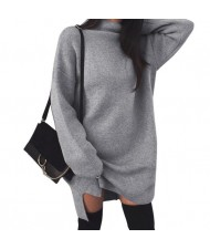 Knitted High Neck Fashion Long Sleeves One-piece Women Dress - Gray