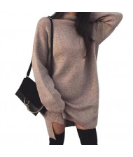 Knitted High Neck Fashion Long Sleeves One-piece Women Dress - Brown