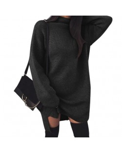 Knitted High Neck Fashion Long Sleeves One-piece Women Dress - Black
