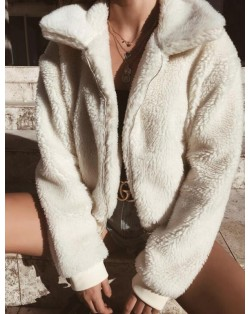 Fluffy Warm Style Winter Fashion Women Top/ Jacket - White