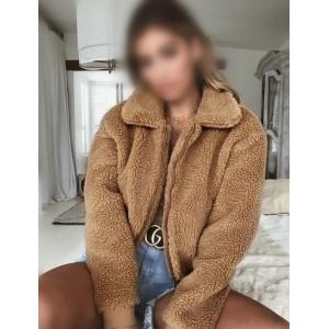 Fluffy Warm Style Winter Fashion Women Top/ Jacket - Brown