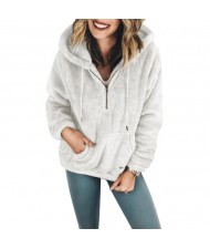 Fluffy Style Winter High Fashion Hooded Women Top/ Jacket - White