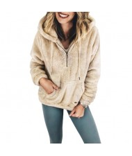 Fluffy Style Winter High Fashion Hooded Women Top/ Jacket - Khaki