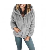 Fluffy Style Winter High Fashion Hooded Women Top/ Jacket - Gray