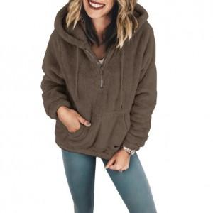 Fluffy Style Winter High Fashion Hooded Women Top/ Jacket - Dark Coffee