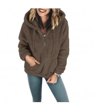 Fluffy Style Winter High Fashion Hooded Women Top/ Jacket - Dark Coffee